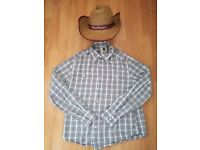 COWBOY WESTERN -SHIRT AND STRAW HAT - LEVI SHIRT LARGE - COUNTRY LINE DANCING