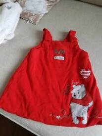 Red Winnie the poo dress 3-6 months