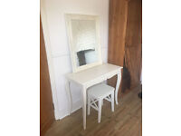 Pretty antique cream dressing table with stool and matching mirror, sh-sheek, solid wood, hall table