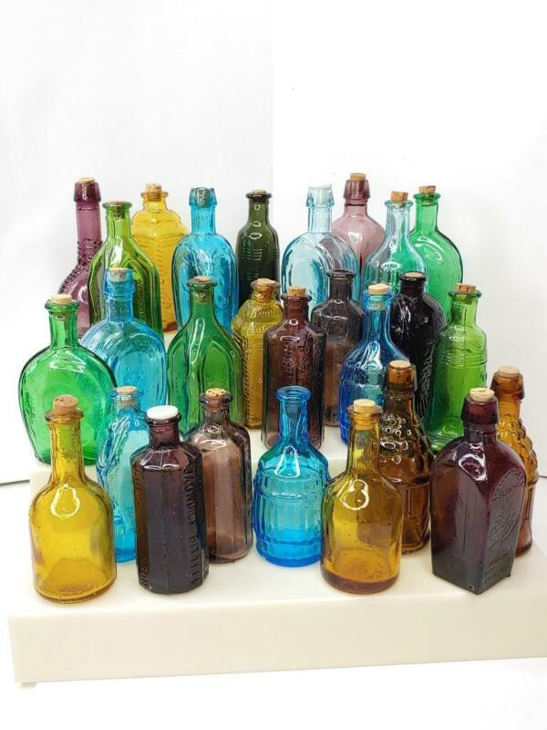 VINTAGE MINIATURE Colored Glass BOTTLES 12 Variations Wheaton BITTERS Fish MEDS