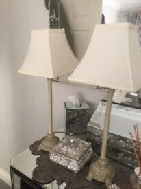 Antique cream lamps x2