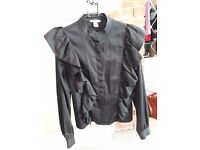 Size 12 H&M black frilled shirt
