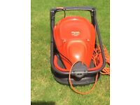 Flymo turbo lite 300V, hover mower with grass box.