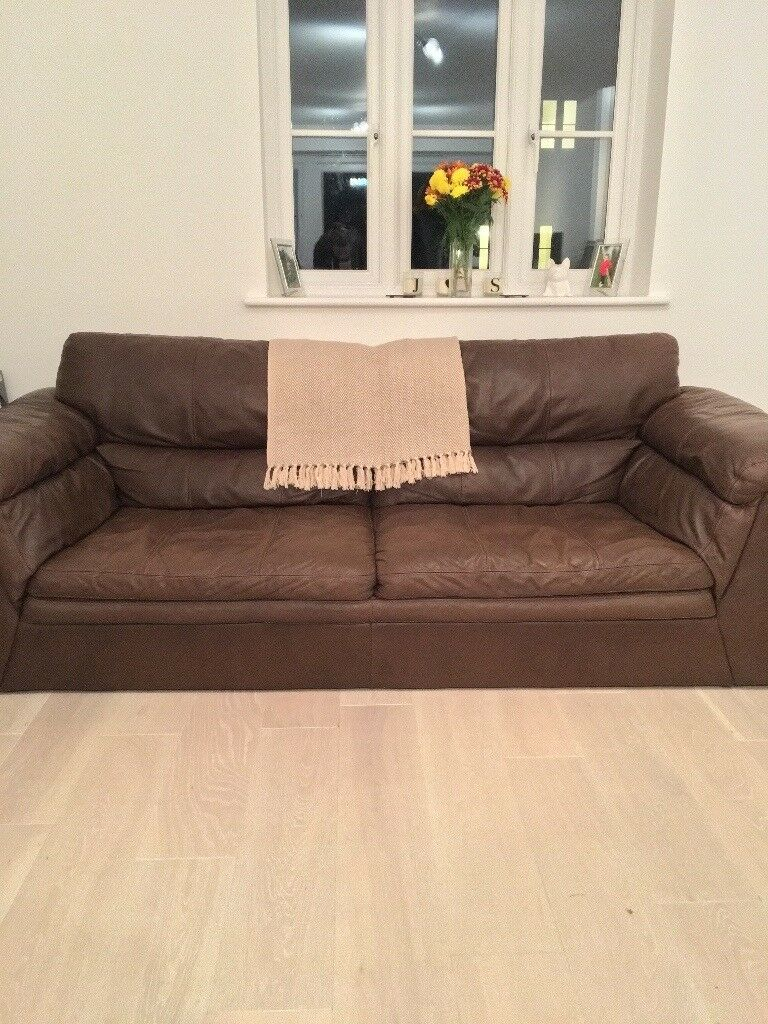 DFS Leon brown leather 3 seater sofa