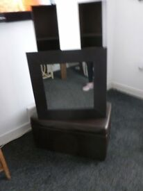 Faux leather matching mirror, shelves & ottoman. Immaculate. £30.00