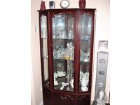 Real mahogany veneer glass display cabinet