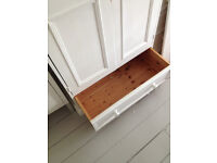 Painted white solid pine wardrobe and drawers