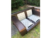 3 &2 piece distressed leather sofas