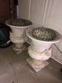 2 concrete garden urns