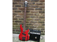 Rodeo red 4 string Bass Guitar + 15W Amp + cable Starter Kit REDUCED OFFER