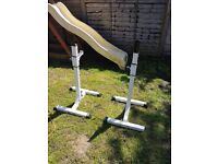 Weight bench with squat rack 2 barbells and plates