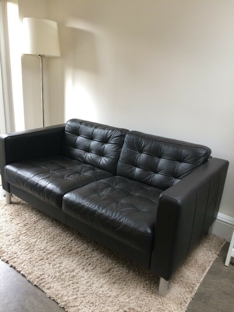 Ikea Karlsfors Landskrona Brown Leather 2 Seater Sofa