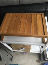 Fold out wooden bed tray