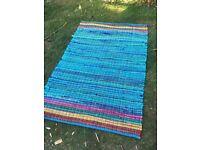 Aqua blue floor rug