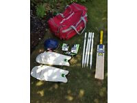 Woodworm bag, Gunn and Moore bat, helmet, wickets, pads and Addidas gloves (no ball)