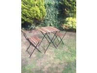 Garden table and chairs/bistro set foldable