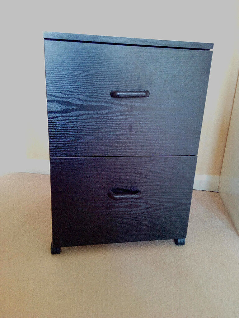 2 Drawer Black Wood Grain Filing Cabinet Ideal For Home Office Only 5