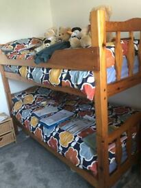 Solid bunk beds with new mattresses (Collection only) - open to offers around asking price