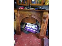 Solid wood fire mantle piece 5 ftx4 ft, £75
