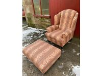 Quality High Wing Back Fireside Chair / Armchair & Large Matching Stool