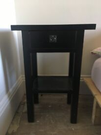 Bedside table in black lacquered mango wood from India Jane of London