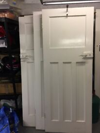 4 white internal house doors with locks and hinges 1930s