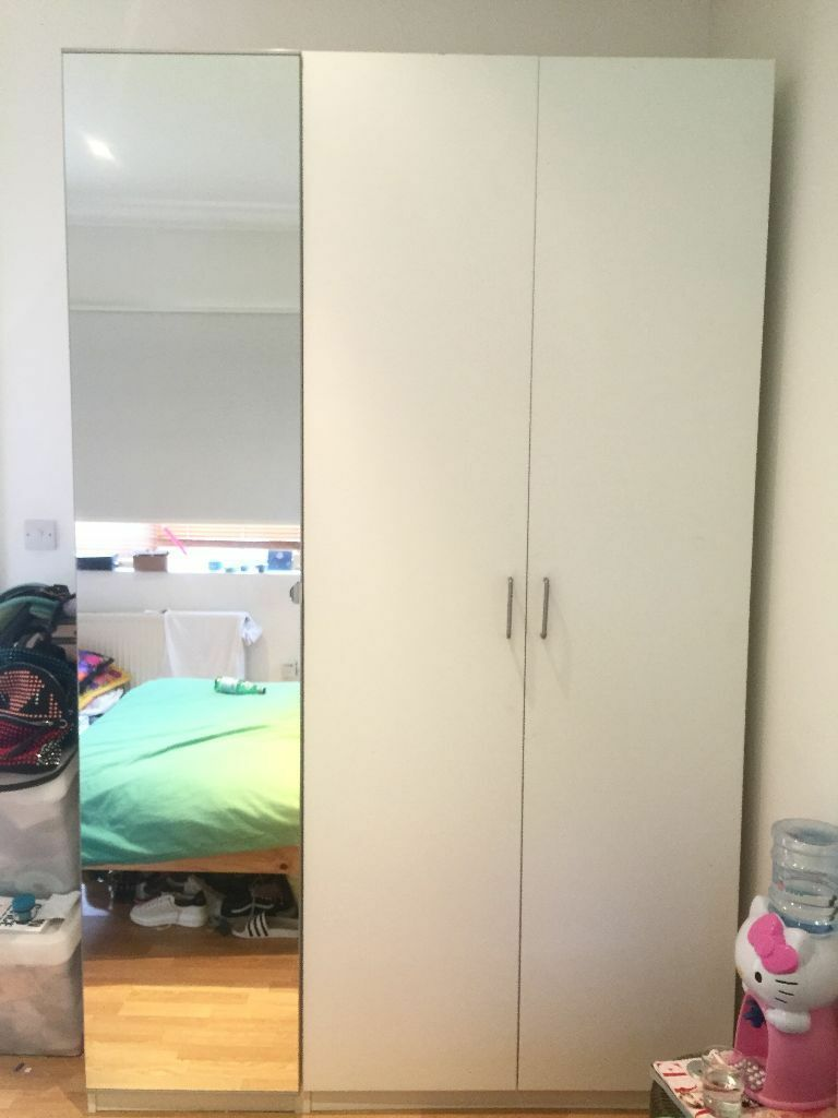 Large tall wide ikea pax 3 doors wardrobe mirror white for Ikea wardrobes pax