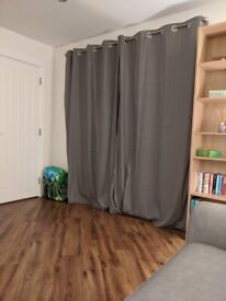 Grey pair of cotton curtains 225cm drop by 168 wide (each)