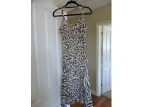 BNWT Ladies Gold & Brown Print Fully Lined Dress