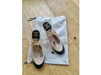 Vintage Chanel beige&black sandals - brand new conditions- UK/EU size 6.5/39