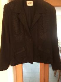 Ladies black jacket with brocade detail