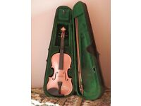 4/4 metallic pink Hudson Violin with bow and case.