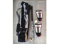 Slazenger hockey stick, bag and accessories