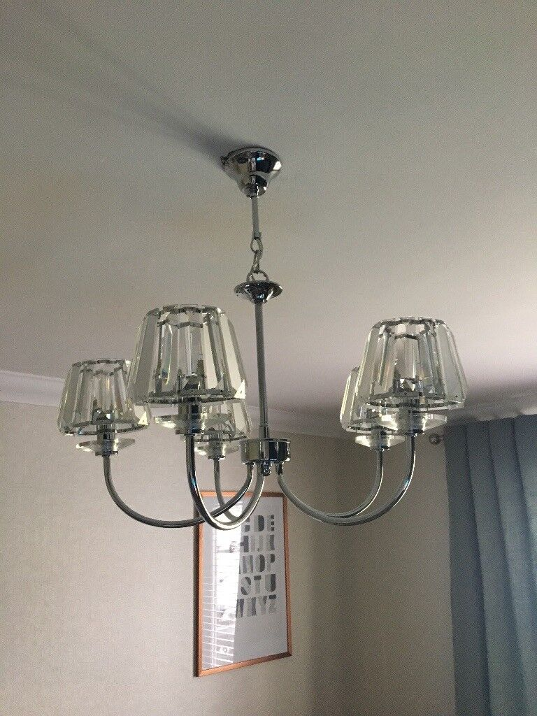 Laura ashley capri chrome 5 light chandelier with clear glass shade laura ashley capri chrome 5 light chandelier with clear glass shade mozeypictures Choice Image