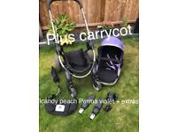 Stunning Parma violet ICandy peach chassis seat and carrycot + extras buggy/pram/pushchair