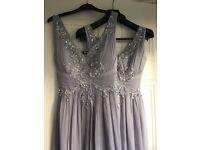 2 (possibly 3) grey bridesmaid dresses