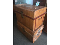 Splendid Pair of Antique Victorian Railway Metal Tin Chest Trunk Storage Boxes Coffee tables