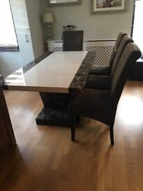 MARBLE EFFECT Dining Table and 4 Leather chairs