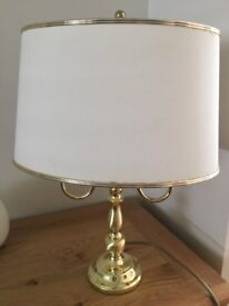 """2 light table lamp. Brass finish. 18"""" high x 16"""" total width"""