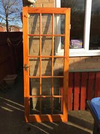 Solid pine internal door with 15 glass panels