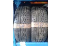 2x 225-45-17 Firestone Firehawk 91W 5mm Part Worn Tyres