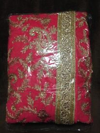 Pink gold embroidery saree