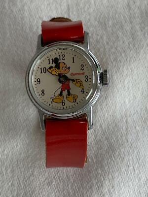 Vintage Ingersoll Walt Disney Mickey Mouse Wind Wrist Watch Original Red Band