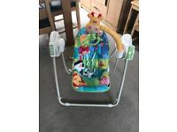 Baby swing including batteries