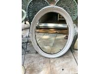 Large White vintage shabby chic mirror