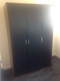 Black / oak 3 door wardrobe