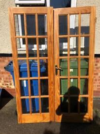 Internal double doors solid wood glazed