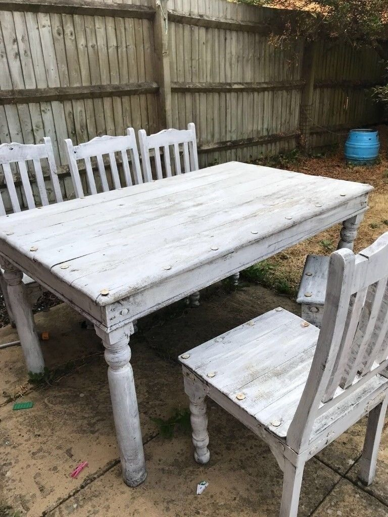 Up Cycle Project Shabby Chic Rustic White Washed Pine Dining Table And