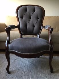Grey victorian antique button back chair