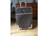 Vintage Diane Von Furstenberg Luxury Trolley Suitcase Brown & Beige Design